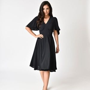 NWT Hell Bunny 1940s Black Butterfly Dress, XS